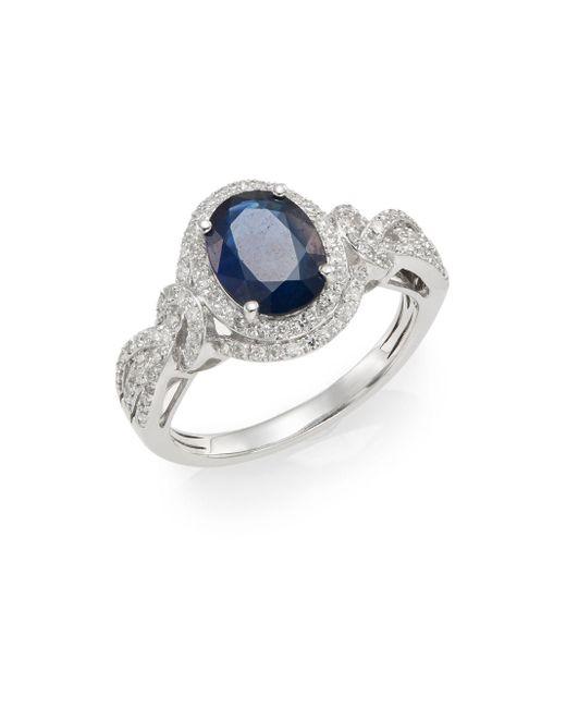 Effy - Metallic Sapphire, Diamond & 14k White Gold Ring - Lyst