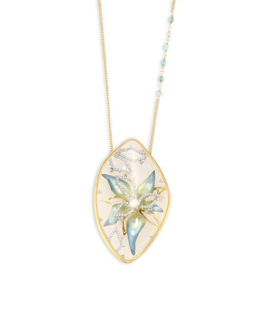Alexis Bittar - Metallic Lucite & Crystal Encased Flower Pendant Necklace - Lyst