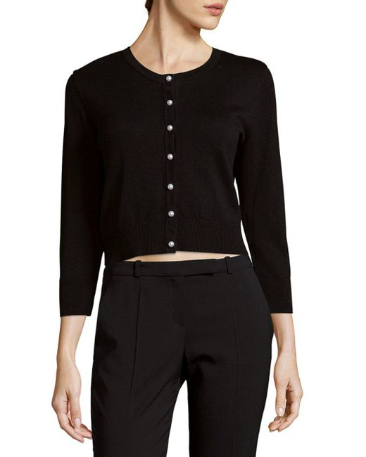 Karl Lagerfeld - Black Roundneck Ribbed Cardigan - Lyst