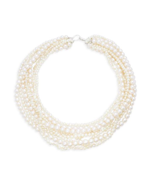 "Belpearl - White 4-8mm Round & Baroque Freshwater Pearl Eight-strand Necklace/22"" - Lyst"