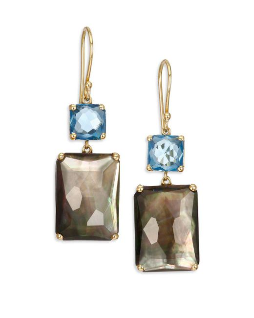Ippolita - Metallic Gelato London Blue Topaz, Black Shell, Clear Quartz & 18k Yellow Gold Rectangle Double-drop Earrings - Lyst