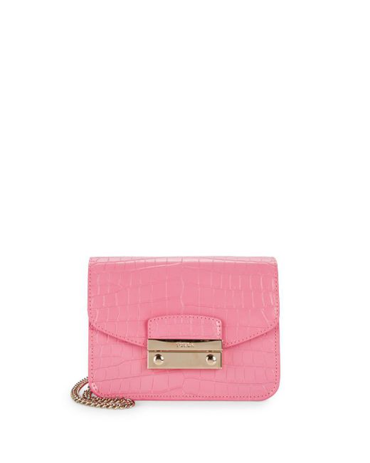 Furla - Pink Julia Cocco Leather Crossbody Bag - Lyst