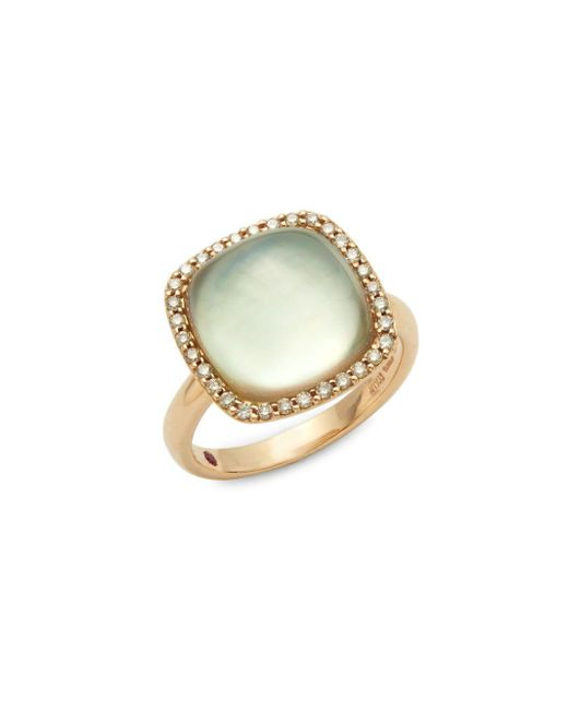 Roberto Coin - Pink Brown Diamond, Prasolite And 18k Rose Gold Cocktail Ring - Lyst