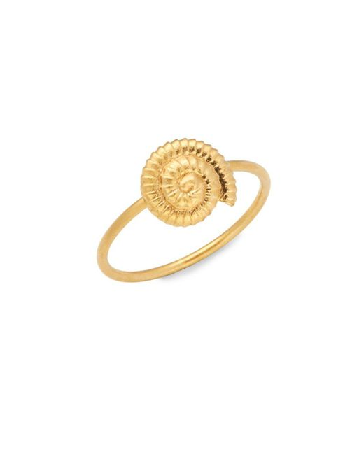 Valentino - Metallic Matte Goldtone Shell Charm Ring - Lyst