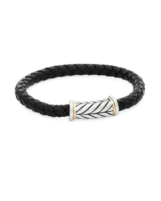 Saks Fifth Avenue - Metallic Leather, Stainless Steel & 14k Gold Bracelet for Men - Lyst