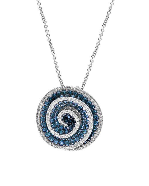 Effy | Blue Diamond & 14k White Gold Swirl Pendant Necklace | Lyst