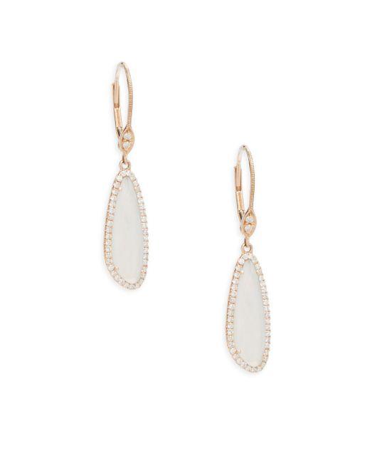 Meira T - Metallic Diamond, Chalcedony & Rose Gold Studded Earrings - Lyst