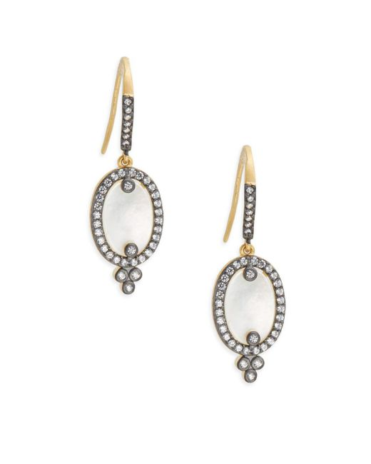 Freida Rothman - Metallic Classic Cubic Zirconia, Sterling Silver Rhodium-plated & 14k Goldplated Mother Of Pearl Slice On Earwire Earrings - Lyst