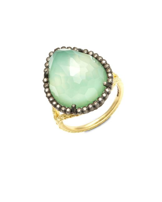 Armenta - Metallic Old World Champagne Diamond, Chrysoprase, Moon Quartz & 18k Goldplated Sterling Silver Ring - Lyst