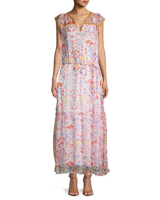 Antik Batik - Pink Floral Long Blouson Dress - Lyst ... 681ab7be8