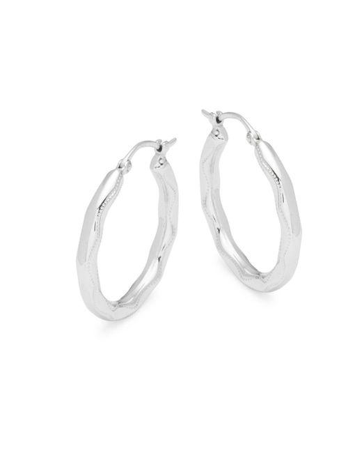 Saks Fifth Avenue | Metallic Sterling Silver Embossed Hoop Earrings | Lyst