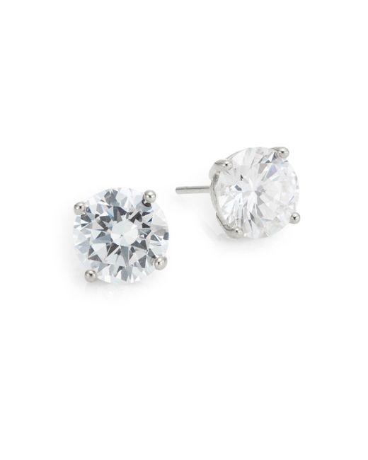 Saks Fifth Avenue - Metallic Prong-set Round Stud Earrings/silvertone - Lyst