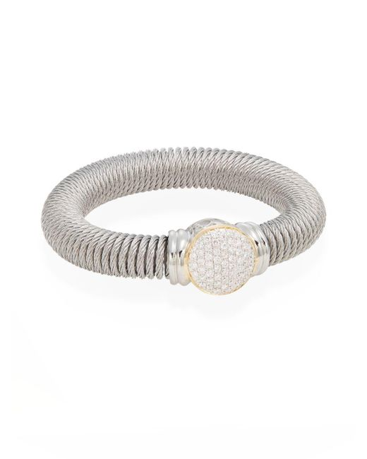Alor | Metallic Diamond, Stainless Steel & 18k Yellow Gold Coil Bracelet | Lyst