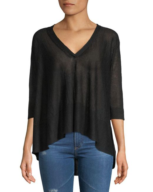 Inhabit - Black Swing V-neck Linen Blouse - Lyst