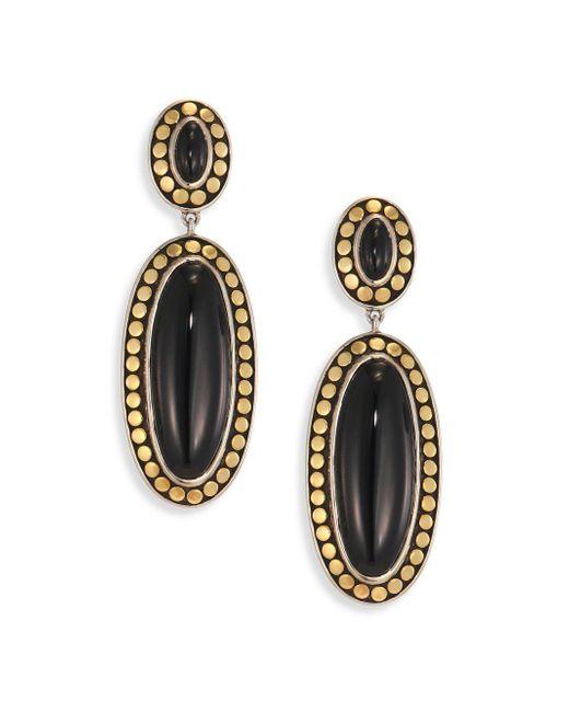 John Hardy - Metallic Dot Black Onyx & 18k Bonded Yellow Gold Oval Drop Earrings - Lyst