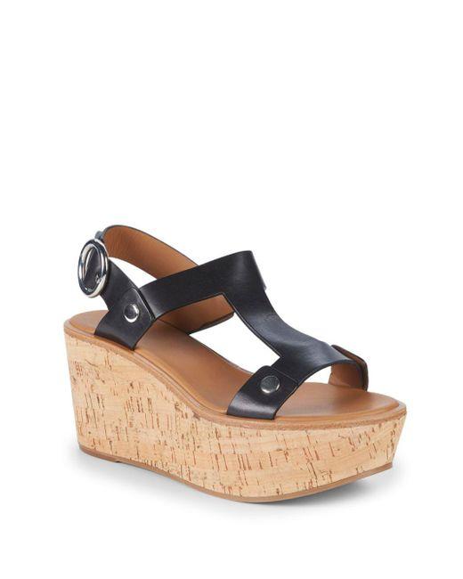 Frye - Black Dahlia Rivet Leather Wedge Sandals - Lyst