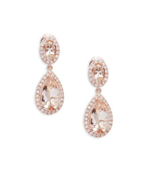 Effy - Metallic Diamond, Morganite And 14k Rose Gold Drop Earrings - Lyst