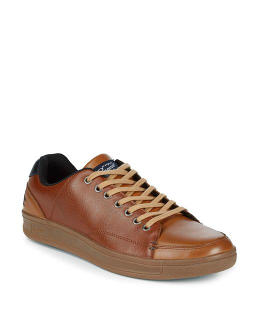 Original Penguin - Brown Brad Low-top Leather Sneakers for Men - Lyst
