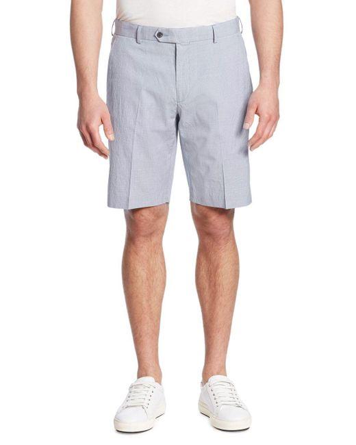Saks Fifth Avenue - Blue Textured Cotton Blend Shorts for Men - Lyst