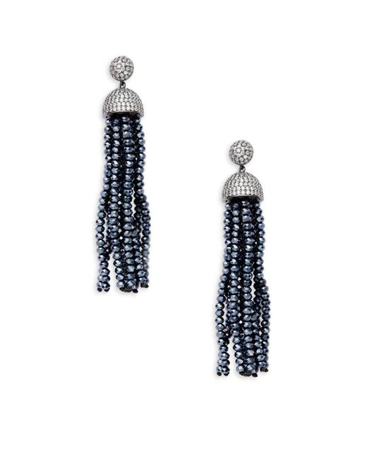 Saks Fifth Avenue - Black Silvertone Cubic Zirconia Earrings - Lyst