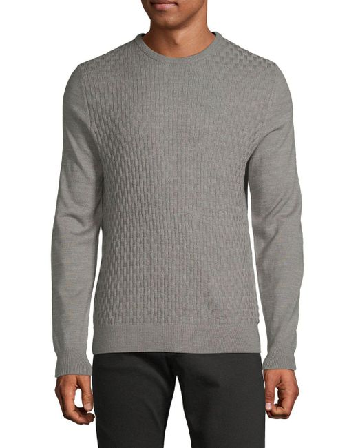 Pure Navy - Gray Basket Weave Heathered Sweater for Men - Lyst