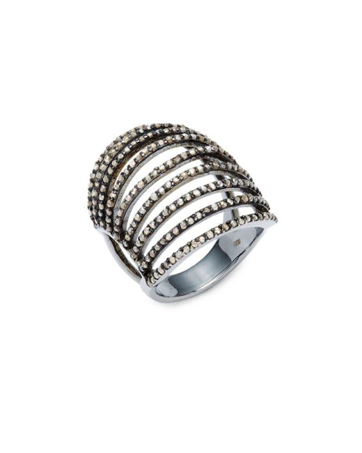 Bavna | Metallic Champagne Diamond & Sterling Silver Ring | Lyst