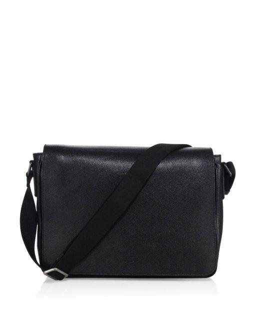Giorgio Armani Solid Leather Messenger Bag in Black for Men - Save ... 53e3847095c49
