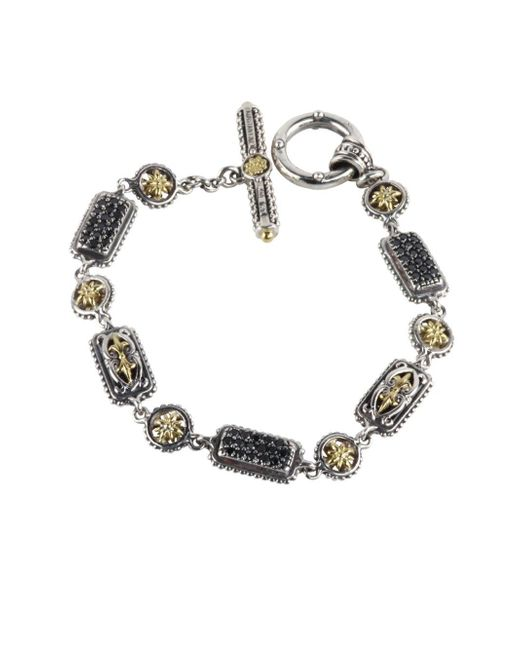 Konstantino - Metallic Asteri Triple Pavé Black Diamond, Crystal And Sterling Silver Bracelet - Lyst