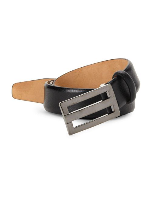 Saks Fifth Avenue - Black Plaque Leather Belt for Men - Lyst