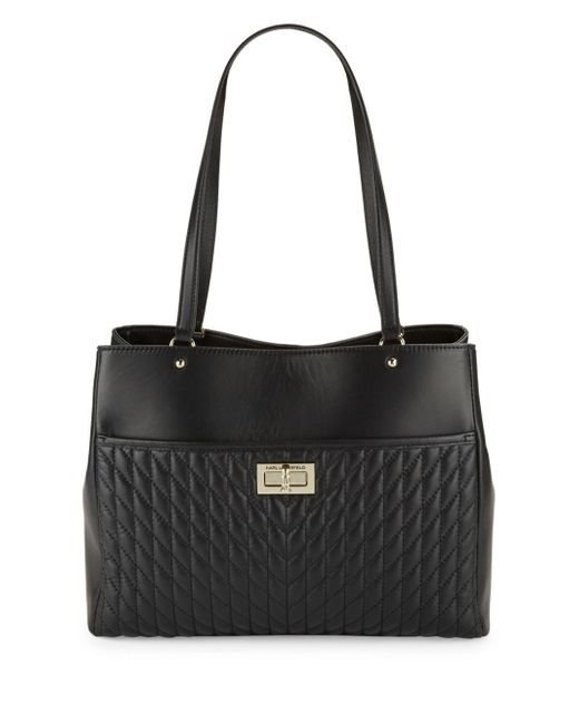 Karl Lagerfeld - Black Diamond Stitched Leather Tote - Lyst
