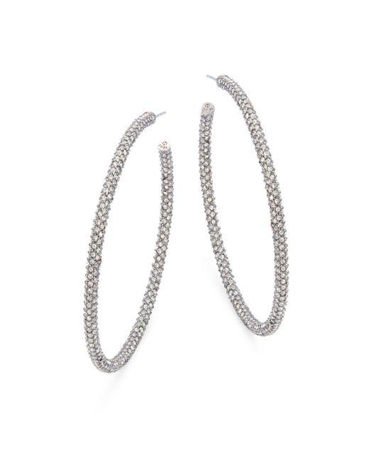 Adriana Orsini - Metallic Jumbo Micropave Silvertone Hoop Earrings - Lyst