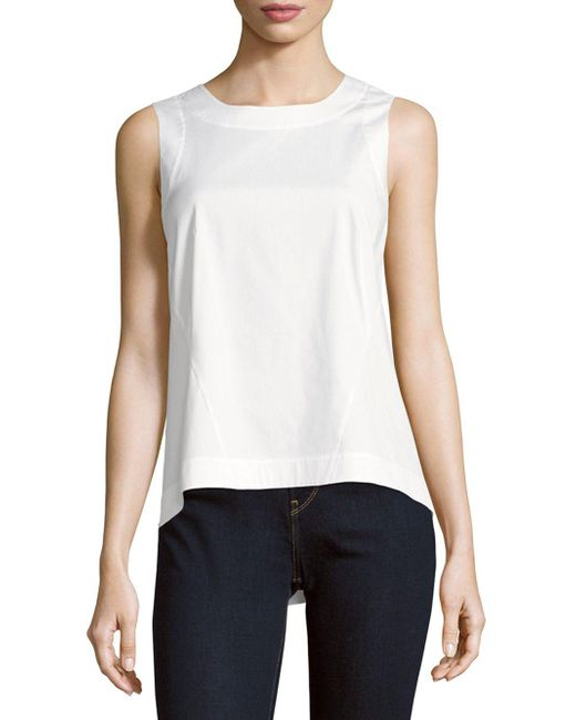 Lafayette 148 New York - White Melina Solid Sleeveless Top - Lyst