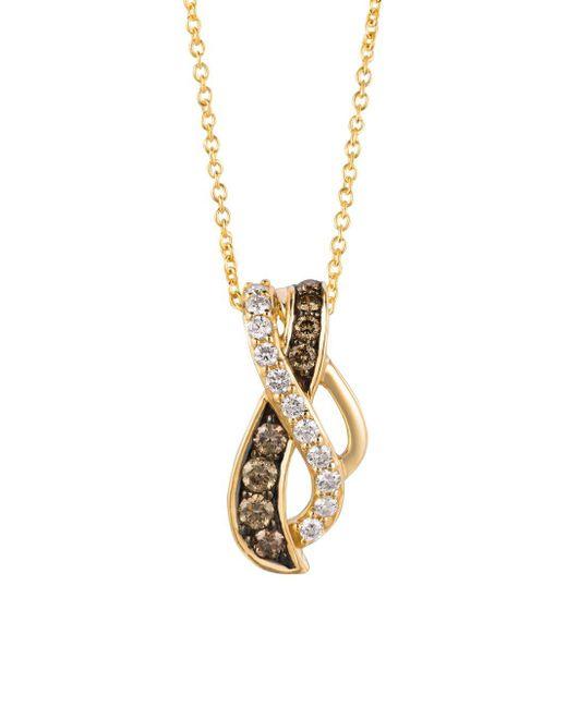 Le Vian - Metallic 14k Honey Gold Vanilla Diamonds & Chocolatier® Chocolate Diamonds Gladiator Weavetm Pendant Necklace - Lyst