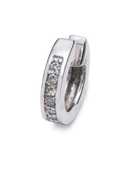 Danni - Metallic Diamond And 14k White Gold Small Hoop Earrings - Lyst