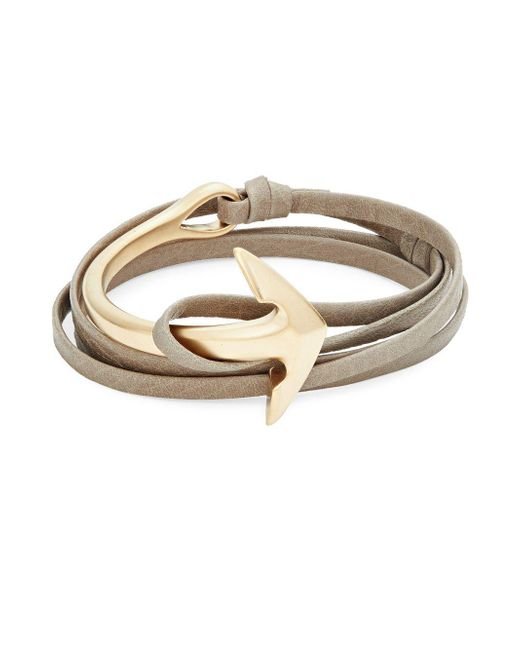 Miansai - Metallic Goldplated Anchor Half-cuff Leather Bracelet - Lyst