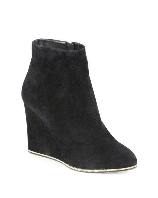 Ferragamo - Black Fiamma Suede Wedge Ankle Boots - Lyst