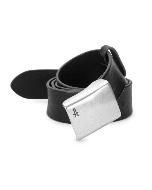 Frye - Black Embossed Plaque Leather Belt for Men - Lyst