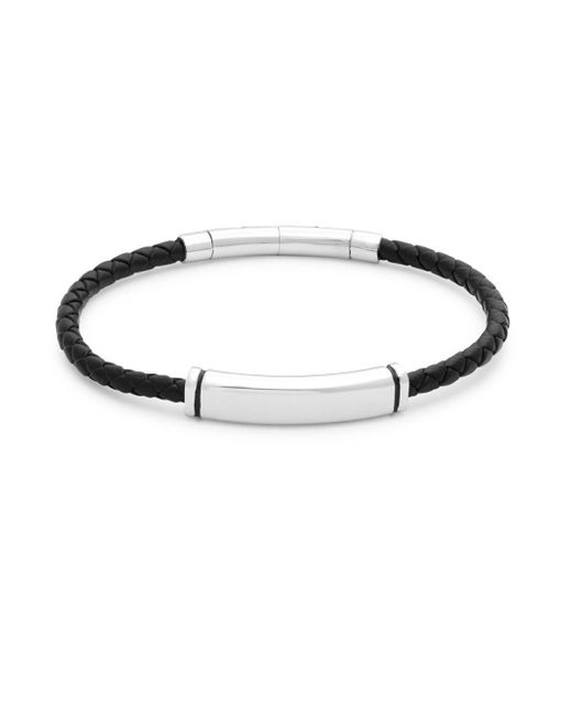 Saks Fifth Avenue - Metallic Stainless Steel And Leather Bracelet - Lyst