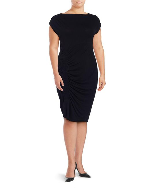 8ba8d5964fe Vince Camuto - Black Plus Ruched Sheath Dress - Lyst ...