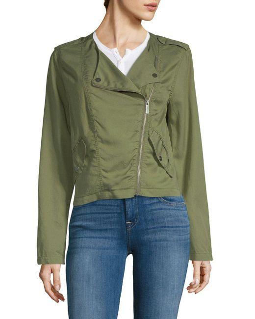 Sanctuary - Green Asymmetric Moto Zip Jacket - Lyst