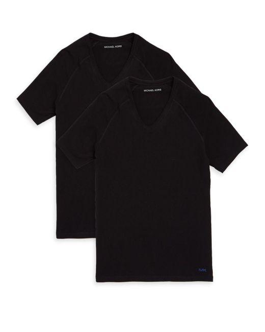 Michael Kors - Black Two-pack V-neck Short-sleeve Tees for Men - Lyst