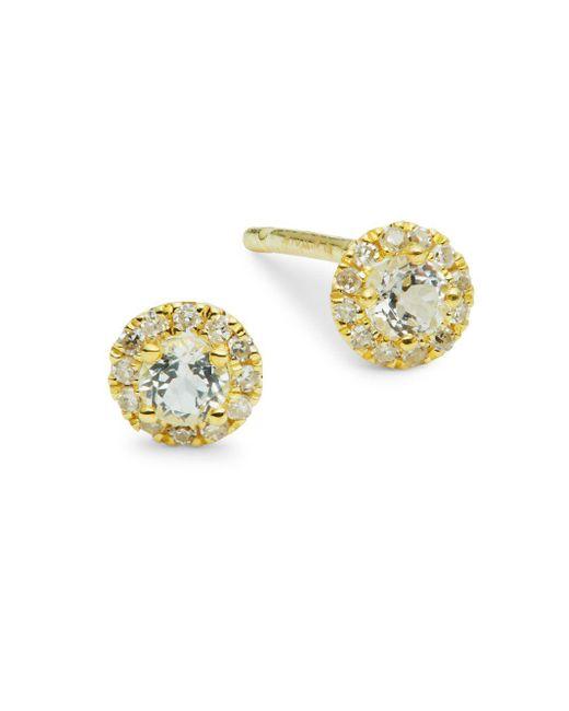 Meira T Metallic 14k Yellow Gold Diamond White Topaz Stud Earrings