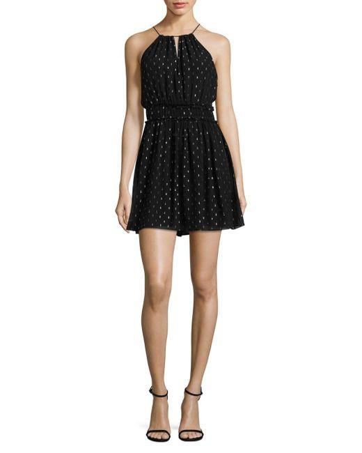 Joie - Black Althia Silk Metallic Fit-&-flare Dress - Lyst