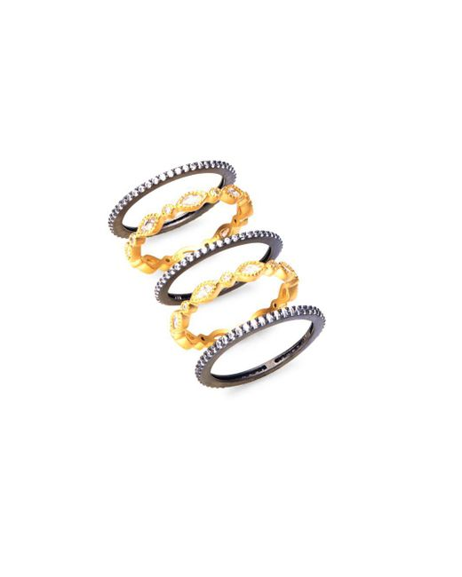 Freida Rothman - Metallic Marquise Gold Plated Stackable Rings - Lyst