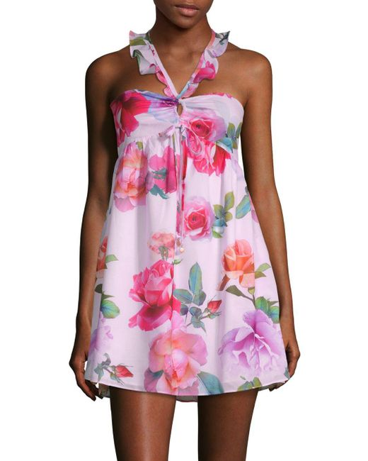 6 Shore Road By Pooja - Pink Floral-print Smocked Mini Dress - Lyst