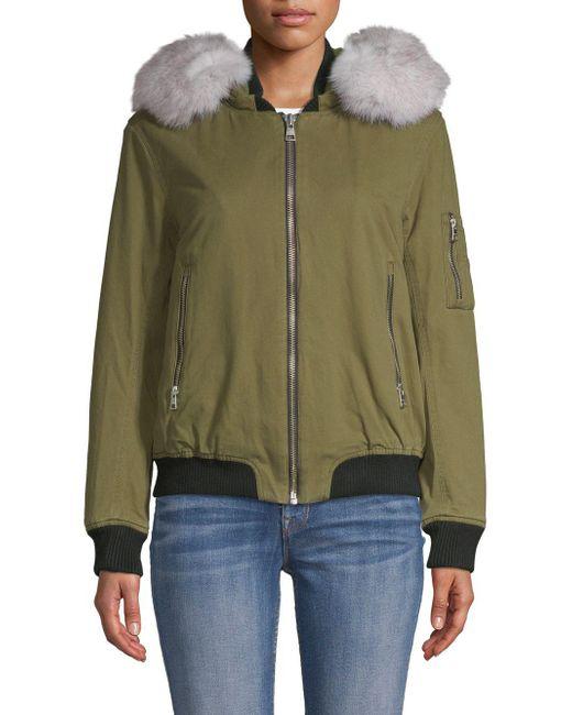 SOIA & KYO - Green Branca Fox Fur-trimmed Denim Bomber Jacket - Lyst