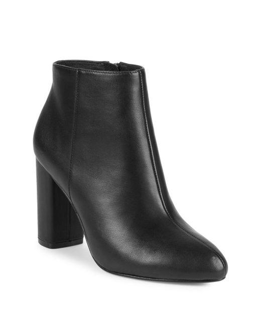 Saks Fifth Avenue - Black Jamie Leather Block Heel Booties - Lyst