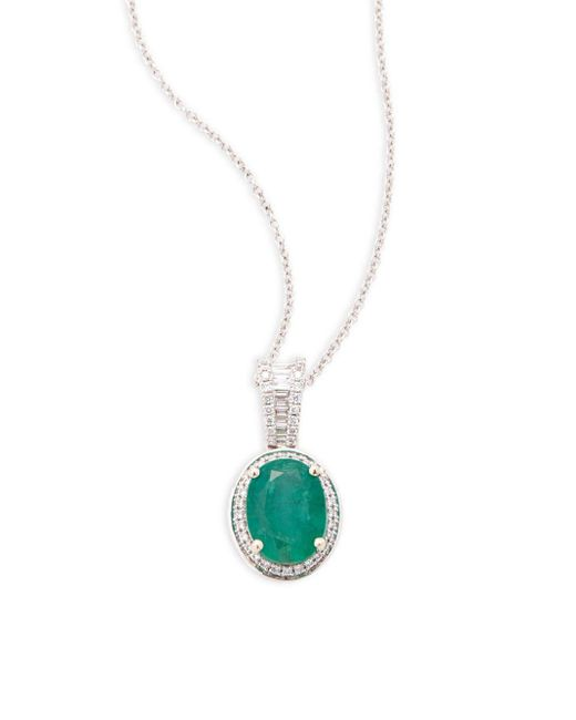 Effy | Metallic Diamond And Emerald, 14k Gold And 14k White Gold Necklace | Lyst