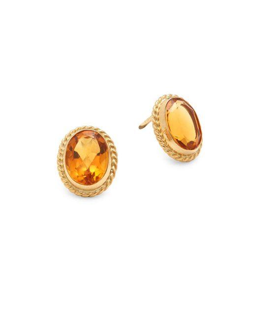 Saks Fifth Avenue - Metallic Citrine & 14k Yellow Gold Twist Gallery Post-back Stud Earrings - Lyst