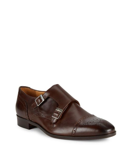 Saks Fifth Avenue | Brown Double Monk-strap Leather Shoes for Men | Lyst